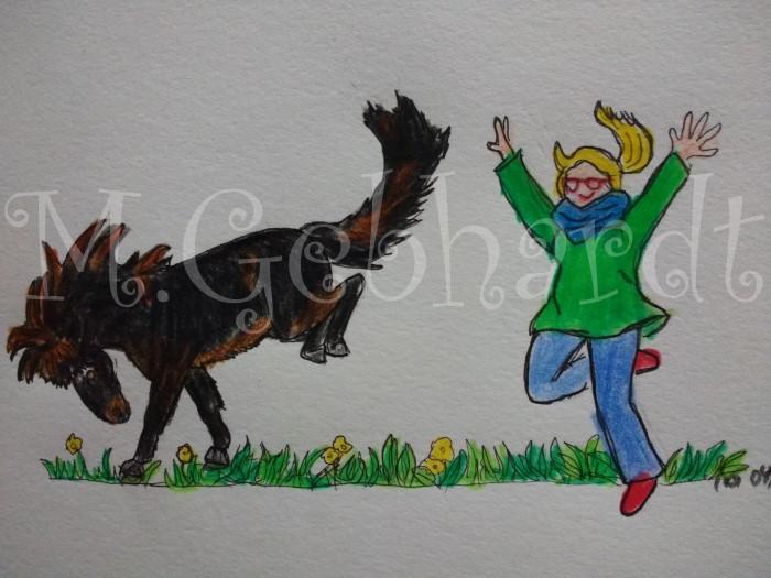 Zeichnung von Gladur und mir beim Springen über die Wiese